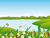 Векторный клипарт: Цветы на берегу реки