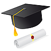 Vector clipart: magister cap and diploma