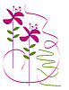 Vector clipart: pink flowers on white background