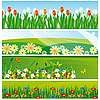 Vector clipart: collection of banners with flowers