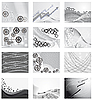 Vector clipart: collection of backgrounds from metal parts