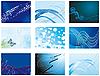 Векторный клипарт: набор синих абстрактных фонов