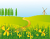 Vector clipart: Road through the flowery meadow
