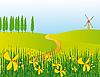 Векторный клипарт: Дорога через цветочный луг