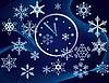 Vector clipart: Christmas background with clock and snowflakes