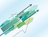 Векторный клипарт: Синий абстрактный фон со стрелками