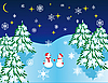 Vector clipart: romantic date in the Christmas forest