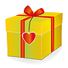 Vector clipart: Yellow box with red ribbon