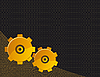 Vector clipart: Black background with yellow gears