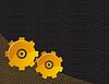 Векторный клипарт: Черный фон с желтыми механизмы