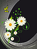 Vector clipart: card with daisies and butterflies