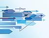 Векторный клипарт: Синий абстрактный фон со стрелками. Векторная иллюстрация