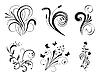 Векторный клипарт: Набор цветочных элементов дизайна