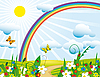 Vector clipart: Rainbow over the flowering meadows