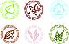 Vektor Cliparts: Symbole-Icons mit Pflanzen