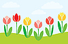 Vector clipart: simple blossoming tulips