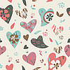 Vector clipart: hearts flowers pattern