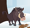 Vector clipart: Wild boar in winter forest