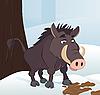 Векторный клипарт: Кабан в зимнем лесу