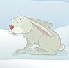 Vector clipart: hare in winter forest