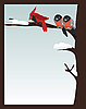 Vector clipart: Birds on winter branch