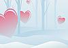 Векторный клипарт: День святого Валентина в зимнем лесу