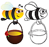 Abeja con miel | Ilustración vectorial