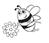 Vector clipart: Bee with flower