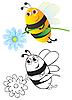 Векторный клипарт: Пчела с цветком