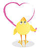 Vector clipart: Chicken and Valentine`s Day