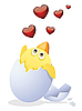 Векторный клипарт: Цыпленок и День святого Валентина