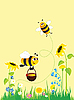 Vector clipart: Meadow and bees