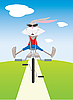 Vector clipart: Rabbit on bicycle
