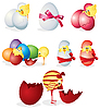 Set of easter eggs and chickens | Stock Vector Graphics