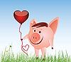Векторный клипарт: Свинья с воздушным шариком в виде сердца
