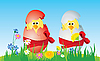 Vector clipart: Easter eggs and chicken