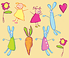 Rabbits, girls and carrot