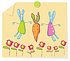 Vector clipart: Rabbits and carrot