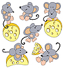 Mice and cheese | Stock Vector Graphics