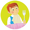 Vector clipart: Boy at Dinner