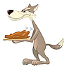 Vector clipart: Wolf and fried chicken