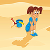 Vector clipart: girl on the beach