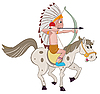Vector clipart: indian on horse