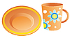 Vector clipart: plate and cup