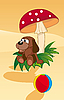 Vector clipart: dog under mushroom