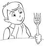 Векторный клипарт: мальчик во время обеда