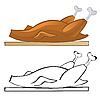 Векторный клипарт: жареная курица