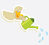 Duck and watering can | Stock Vector Graphics