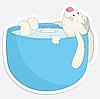 Rabbit in the bath | Stock Vector Graphics