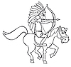 Vector clipart: Indian and horse